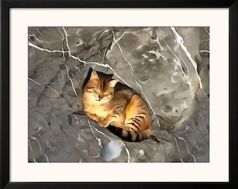 Printable  wall Art Digital Painting Yellow Cat Sleeping in Istanbul Download Poster JPEG home decor yellow grey