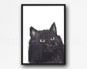 Cat Print Fluffy Black Cat Watercolor Painting Cat Lover Gift Art Print Watercolour Print Watercolour Wall Art Wall Decor Unframed