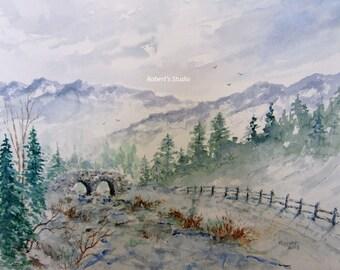 Watercolor Landscape archival print, winter painting, winter landscape, snowfall, scenic stone bridge painting, snow scene, watercolor art.