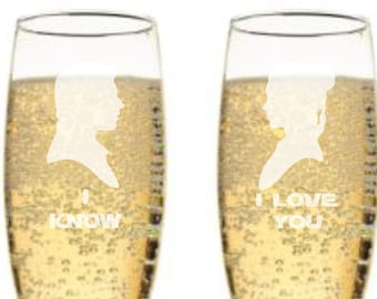 Star Wars I Love You, I Know Champagne Flutes - Han Solo & Princess Leia