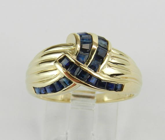 Vintage Estate Yellow Gold 3/4 ct Sapphire Cocktail Ring Cluster Band Size 7.25