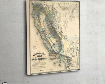 "Wall map of The State of California, 1857 - Interior map design - Home decor - large art print up to 42"" x 51"" - 133"