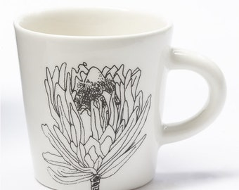 Ceramic Coffee Cup - Small Protea Flower