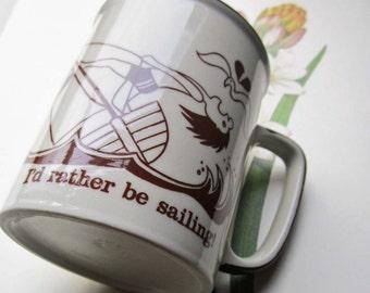 Vintage Coffee Mug * I'd Rather Be Sailing * Surf Sun and sailing * 1970's Brown Cream Mug * Retro Mod Teaky * Wind Surfing * Ocean Sea Mug