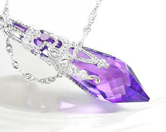 Purple Crystal Necklace Sterling Silver Necklace Swarovski Crystal Amethyst Necklace Silver Violet Purple Pendant Necklace Victorian Jewelry
