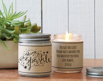 Rise, Shine & Sparkle Soy Candle Gift | Friend Gift | Gift for Her | Thinking of You Gift | Inspiration Gift | Graduation Gift