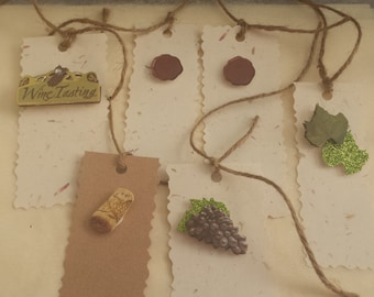 Wine Gift tag set/Vineyard/ Italy/Vintage/Gift