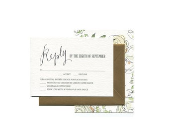 Gardenias and White Roses with Calligraphy Sample Pack  | Spring and Summer Wedding Invitation