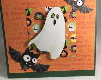 Halloween Greeting Card Ghost and Bats Halloween Card
