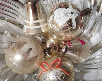 6 Vintage Mercury Glass Silver Bells & Glittered Christmas Ornaments