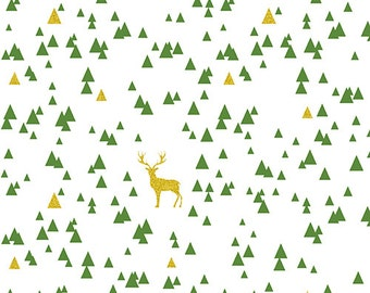 KNIT BOLT byGirl Charlee Jolly Holiday Sparkle Triangle Stag Cotton Spandex Knit Fabric Gold Green White Stretch Fabric Christmas Collection