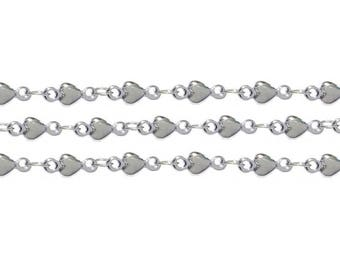 Steel chain with a heart size about 3 mm. Price for 1 metre.