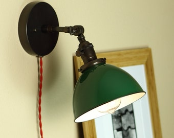 Industrial Articulating Wall Sconce Lighting - GREEN Porcelain Enamel Shade - Hand Finished Brass - Mid Century Modern Style Decor & Industrial Articulating Wall Sconce Lighting BLACK