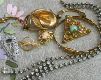7 pc LOT - Victorian, 1920s, gold filled bracelets, brooches, curling pin