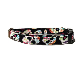 Dia De Los Muertos - Black Colorful Sugar Skull Day of the Dead Halloween Organic Cotton CAT Collar - All Antique Metal Hardware