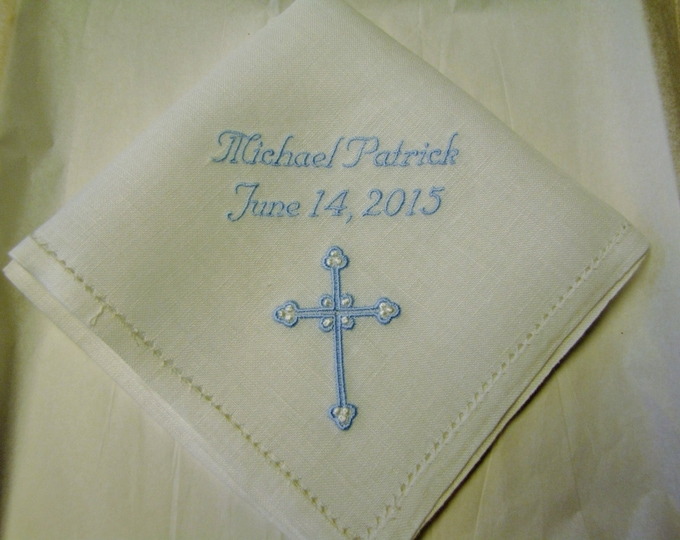 Personalized Boy's Baptismal Gift Christening Hemstitched Linen Handkerchief
