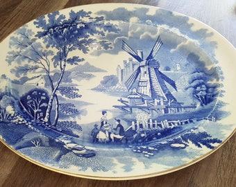 "Serving platter Palissy Ware ""Windmill"" England"