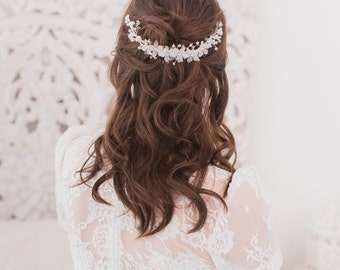 Silver floral crystal vine wedding hair comb, Flower wedding hair comb, Silver wedding hair comb, Floral wedding comb
