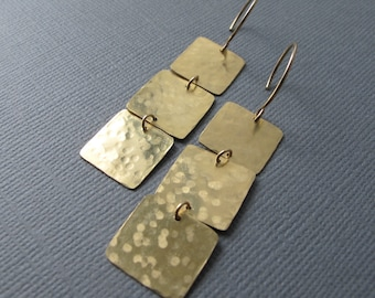 Hammered Square Earrings, Geometric Brass Dangles, 14k Gold Filled Ear Wires