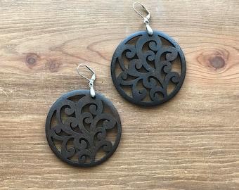 Wooden Scroll Earrings