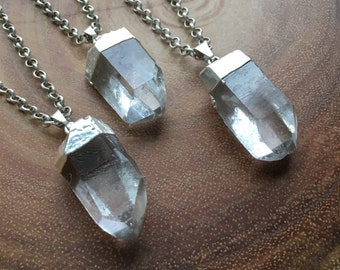 Silver Quartz Crystal Tipped Necklace - Sterling Silver, Electroplate, Satellite Chain, Thick Chain