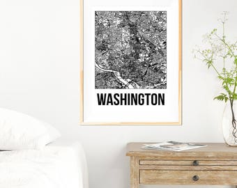 Washington City Map Print - Black and White Minimalist City Map - Washington Map - Washington Print - Many Sizes/Colours Available