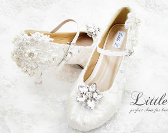Wedding Shoes -  White Lace Flower With Rhinestone and Pearl Custom Flats or Heels