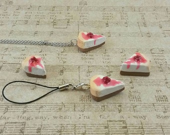 Cherry Cheesecake - mini food charm - cake charm