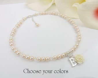 FREE US Shipping Personalized Swarovski Pearl And Rose Flower Girl Necklace Custom Pearl And Rose Flower Girl Necklace Flower Girl Gift