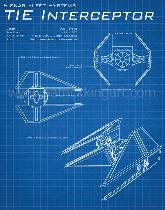 Star Wars TIE Interceptor Schematic Art Print TIE Fighter Tie Fighter Schematic on tie phantom, y-wing schematic, tie advanced,