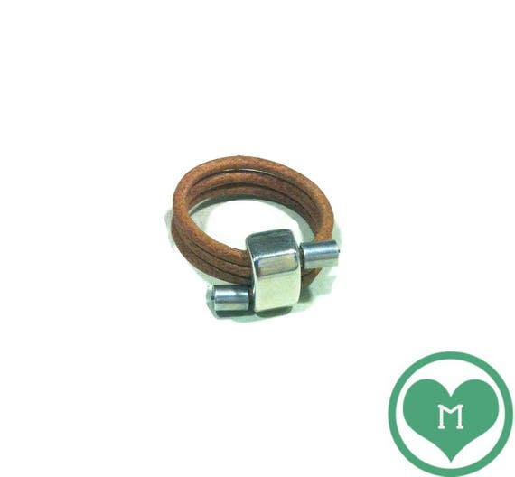 Leather Ring with Metal Alloy Zamak rectangle