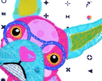 Sew Quirky Frankie the Frenchie, Quilting Pattern, Raw Edge Applique, Mini Quilt, Pillow Cushion, Tote Bag, Decorative Stitch, Dog Quilt