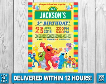 Sesame Street Invitation, Sesame Street Birthday Invitation, Sesame Street, Sesame Street Birthday Card, Sesame Street Invite Printable