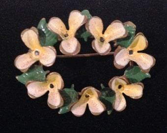 Vintage Flower Brooch, Made in Austria Yellow Pastel Enamel Flower Pin Brooch, Yellow Enamel Brooch