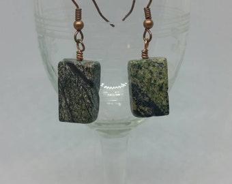 Rainforest Marble Earrings with Copper Ear Hooks