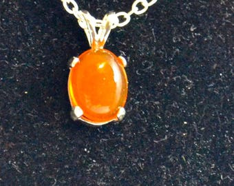 Mexican Fire OpalPendant/Necklace, 10x8mm Oval, Natural, Set in Sterling Silver P705