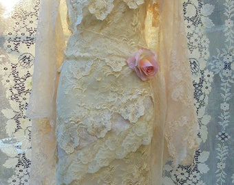 Lace ivory dress wedding tiered  tulle one shoulder vintage  boho  bride outdoor  romantic small   by vintage opulence on Etsy