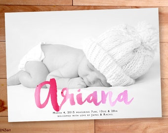 Birth Announcement, Watercolor, Baby Girl Announcement, Script,Calligraphy,Typography,Custom Baby Announcement, Printable, Custom Photo Card