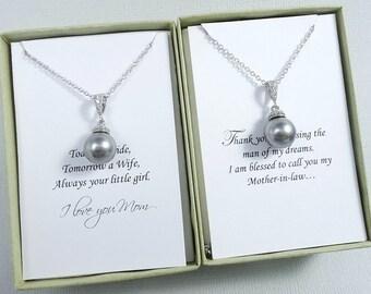 Swarovski Grey Pearl Necklace, Mother of the Bride Gift Necklace, Mother of the Groom Gift, Gifts for Moms, Grey Pearl Wedding Jewelry