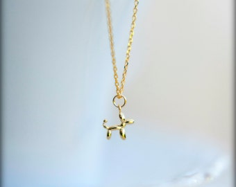 Tiny Balloon Animal Dog Necklace, Available in Silver, Gold, and Rose Gold