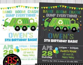 Garbage truck invite etsy more colors garbage truck birthday birthday invitation filmwisefo