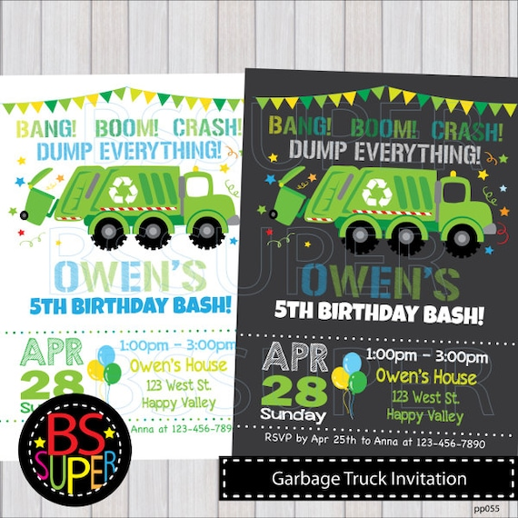 Garbage truck birthday birthday invitation garbage truck filmwisefo Image collections