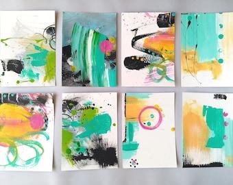 "Gallery wall art, Modern Contemporary Abstract Art on paper, Graffiti, Minimalist Modern art, abstract painting set, art grouping, 5x7"" each"