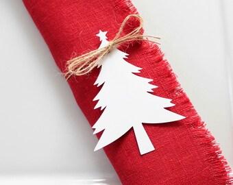Christmas Tree Napkin Tags, Napkin Rings, Holiday Table Decor, Set of 8, Rustic Table Decor, Christmas Place Cards, Christmas Gift Tags