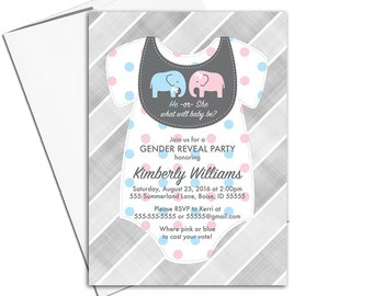 Gender reveal invitation printable printed, gender reveal ideas, elephant theme baby reveal party invite, pink or blue, he she - WLP00771a