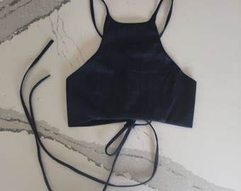 Dark Denim Lace Up Halter Crop Top