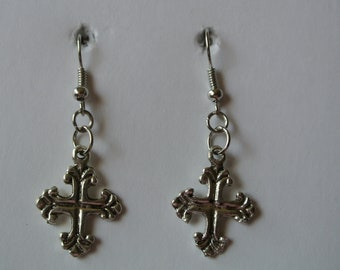 Silver Cross with Silver Fishhook