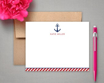 Personalized Stationery - Nautical Flat Notes Gift Set with Anchor - Personalized Stationary