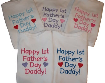 Embroidered Happy 1st Father's Day Daddy Bib
