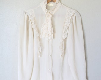 vintage cream lace victorian edwardian top